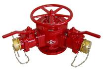 双口給水消火栓(120°型) 丸ハンドル付